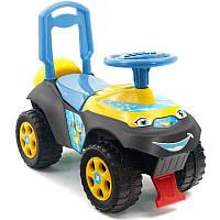 Машинка для катания Автошка музыкальная желто - голубая - серая 0142, Долони Украина013117