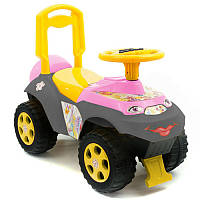 Машинка для катания Автошка музыкальная розово - желто - серая 0142, Долони Украина013117