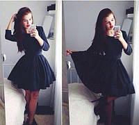 Котоновое жіноча приталені плаття з пишною спідницею в складку (4 кольори). Арт-2312/2, фото 1