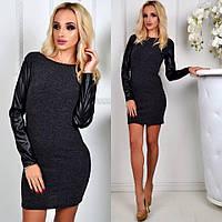 Черное женское короткое ангоровое платье с кожаными длинными рукавами.  Арт-2313/2, фото 1