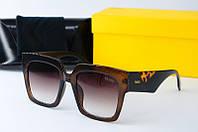 Солнцезащитные очки квадратные Fendi коричневые, фото 1