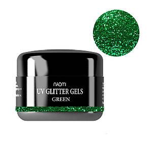 Глиттерный гель Naomi UV Glitter gel GREEN, 14 г