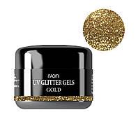 Глиттерный гель Naomi UV Glitter gel GOLD, 14 г