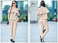 Костюм Yavorsky Фріда модний топ з воланом і штани льон різні кольори Dy960, фото 1