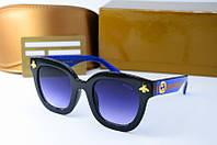 Солнцезащитные очки Gucci квадратные черные с синим, фото 1