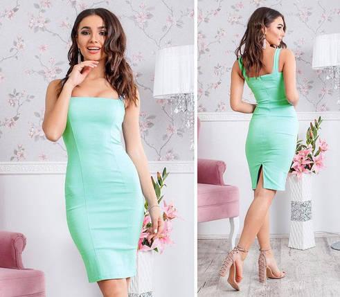 Нарядное миди платье футляр разрез сзади голубое, фото 2