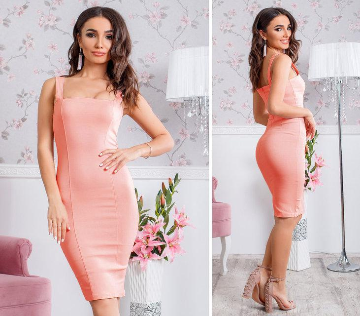 """Модное женское длинное платье в обтяжку, разрез сзади """"Анталия"""" персиковое"""