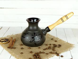 Турка Иероглиф керамическая с деревянной ручкой 350мл