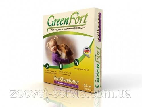 Биоошейник от блох и клещей для средних собакGreenFort65см