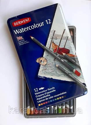 """Карандаши акварельные Derwent  """"Watercolour"""" 12 шт. в металлической коробке 32881, фото 2"""