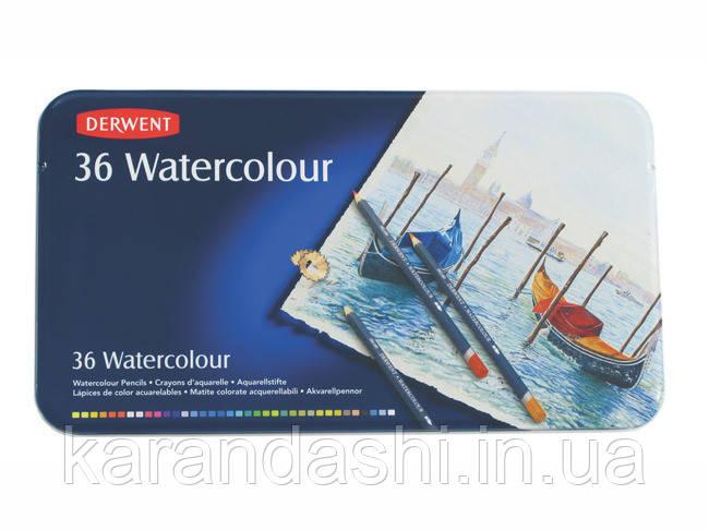 """Карандаши акварельные Derwent  """"Watercolour"""" 36 шт. в металлической коробке 32885"""
