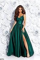 Вечернее платье в пол с разрезом сбоку гипюр и шелк юбка пышная цвет бутылка