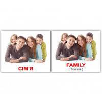 "Карточки мини украинско-английские ""Сім'я/Family"" 40 карт., в пак. 8*10см, ТМ Вундеркинд"