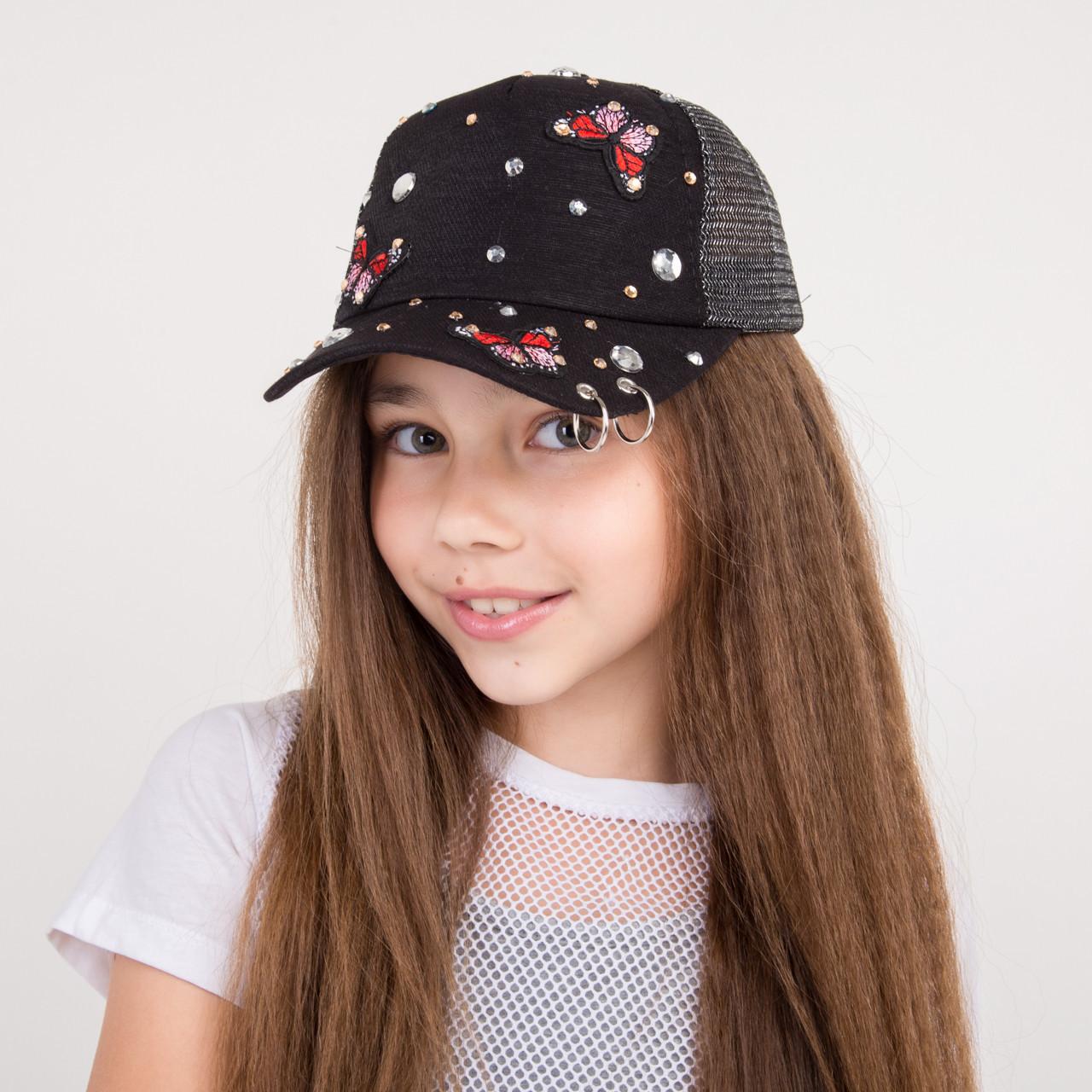 Стильная бейсболка для девочек - Butterfly-swarovski - 32018-1