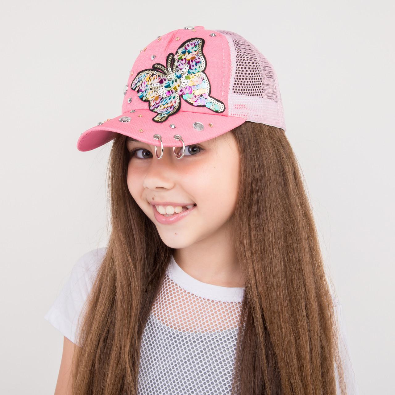 Стильная бейсболка с нашивкой для девочек - Бабочки - 32018-4