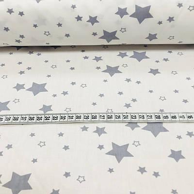 Хлопковая ткань польская, звезды разного размера серые на белом