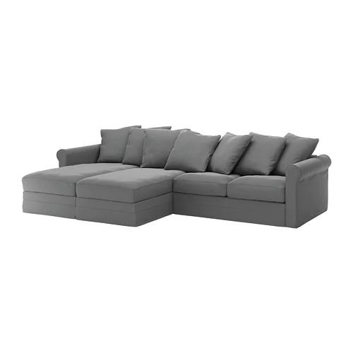4-местный диван с шезлонгом IKEA GRÖNLID Ljungen серый 392.560.71