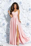 Летнее платье в пол разрез сбоку верх гипюр низ шифон юбка от талии пышная розовое