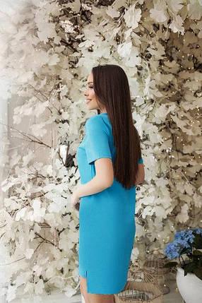 Асимметричное свободное летнее платье с коротким рукавом персиковое, фото 2