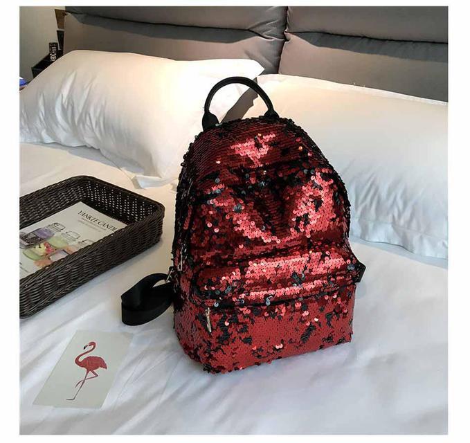Рюкзак молодёжный с паетками «Красный»