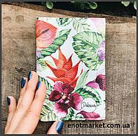 """Обложка на паспорт """"Цветные тропические цветы"""""""