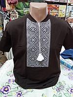Вышиванка мужская футболка коричневая