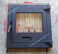 Дверка чугунная с жаропрочным стеклом (400х400) барбекю, печи