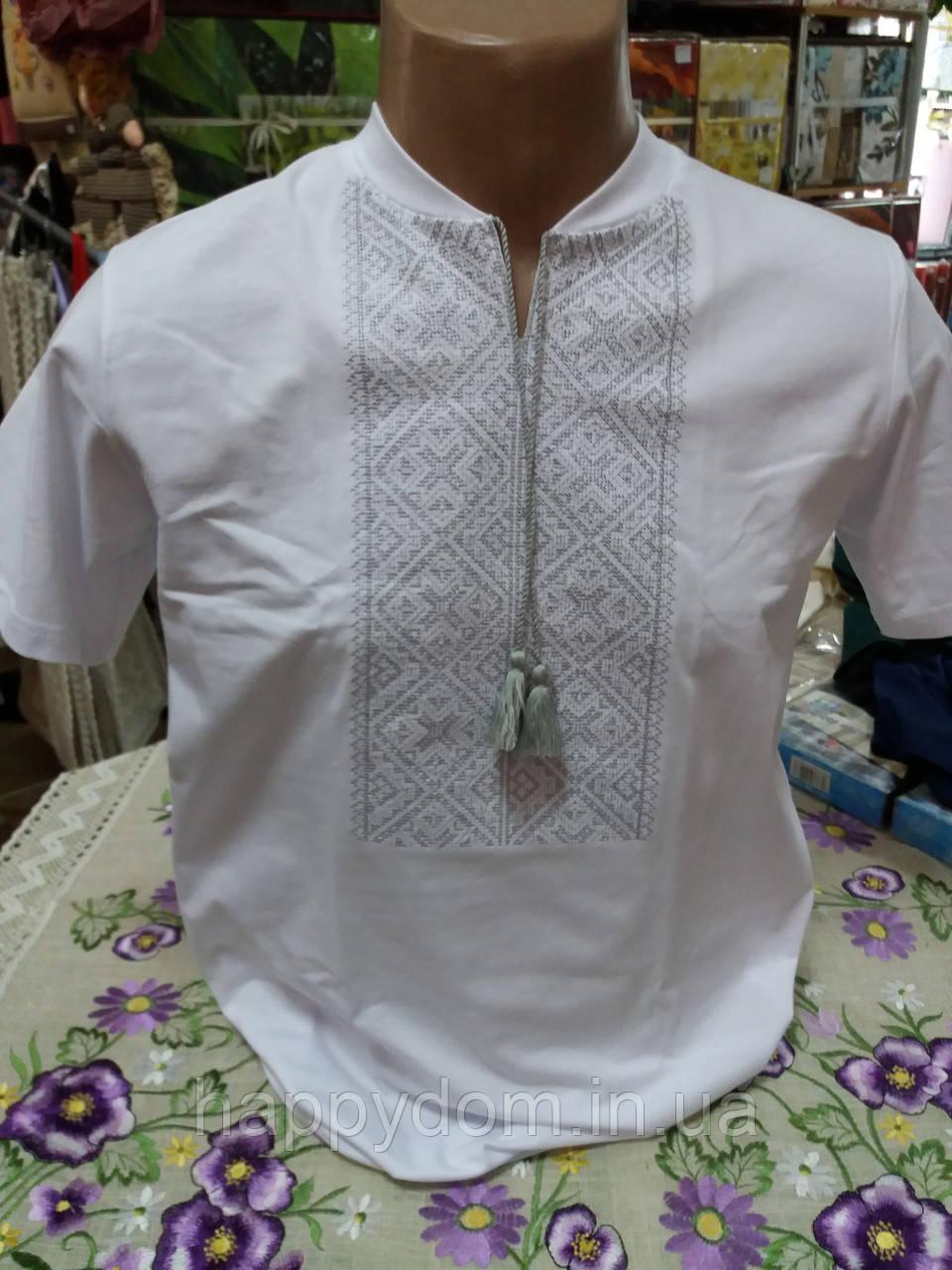 Вышиванка мужская футболка белая