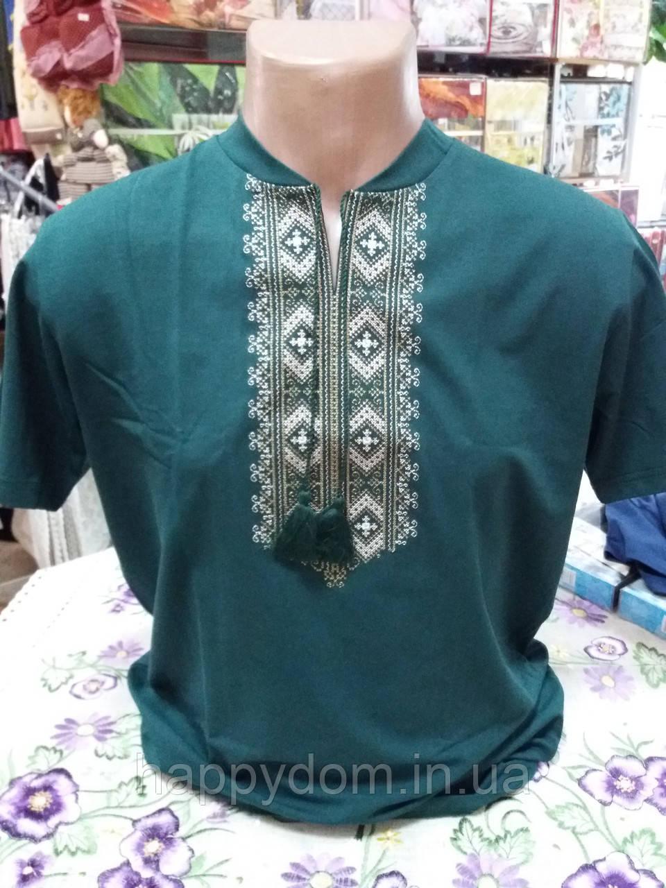 Вышиванка футболка мужская зеленая
