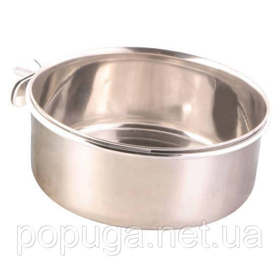 Миска для папуг, з кріпленням, метал, 600мл /ø 12 см