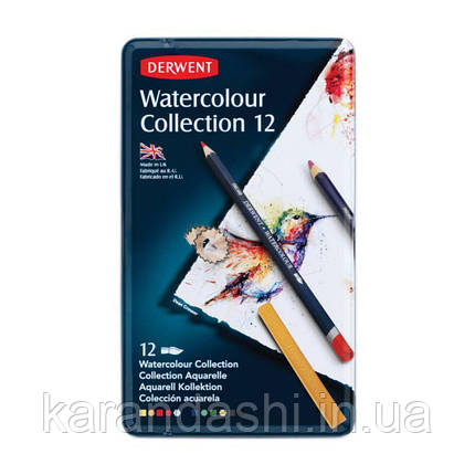 Набор акварельных карандашей Watercolour Collection, 12 предмет., в метал. коробке, Derwent 0700303, фото 2