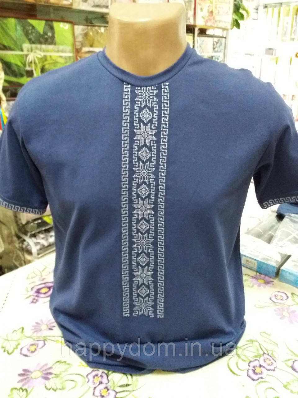 Вышиванка  футболка молодежная синий