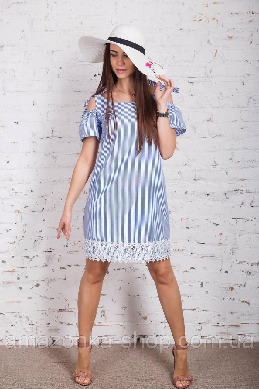 Женское морское платье в полоску модель 2018 - Код пл-287