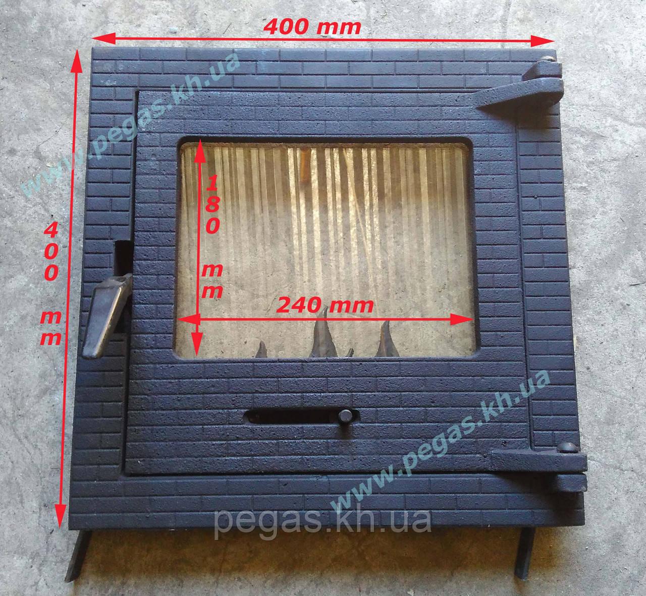 Дверца чугунная с огнеупорным стеклом 400х400 мм. барбекю, печи