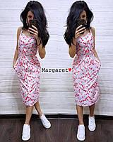 Женское летнее платье с цветочным принтом на пуговках