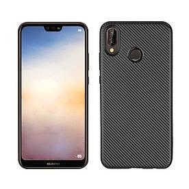 Чехол накладка для Huawei P20 Lite силиконовый, Carbon i-Zore, черный