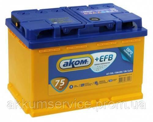 Аккумулятор автомобильный АКОМ 75AH R+ 720A