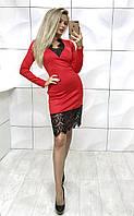 Красивое платье с гипюром красное