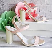 Женские босоножки на каблуке, цвет пудра, фото 1