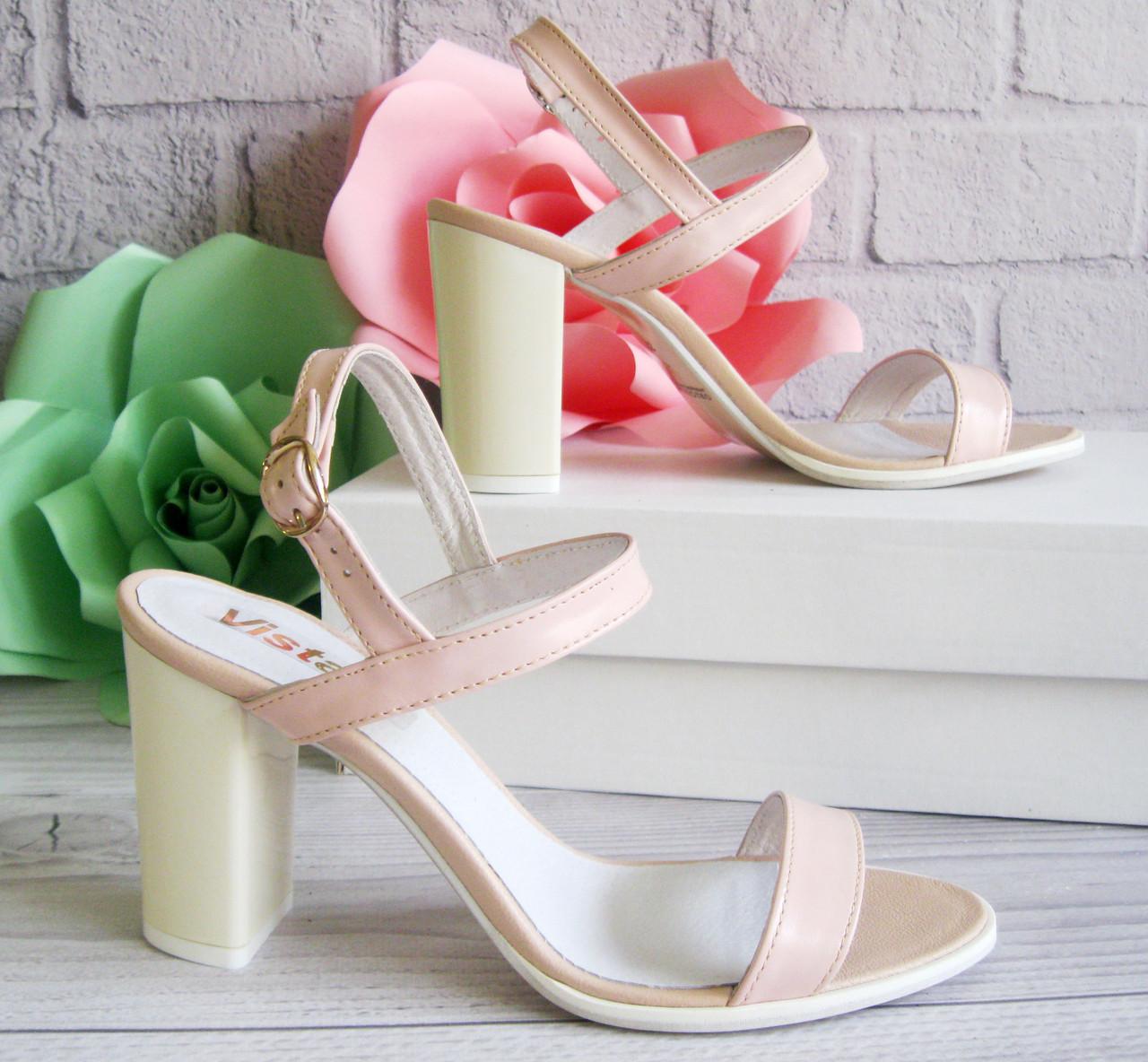 Женские босоножки на каблуке, цвет пудра