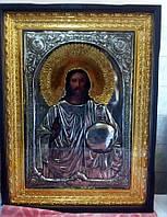 Икона храмовая Господь Вседержитель с Державой и Скипетром 120*85 см с позолотой и серебром