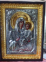 Храмовая Тихвинская икона Божьей Матери с позолотой 120*85 см