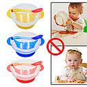 Детская тарелка на присоске с крышкой и ложкой в РОЗОВОМ цвете, фото 5