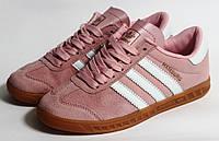 Кроссовки Adidas Hamburg, Розовые, Натуральная замша, фото 1
