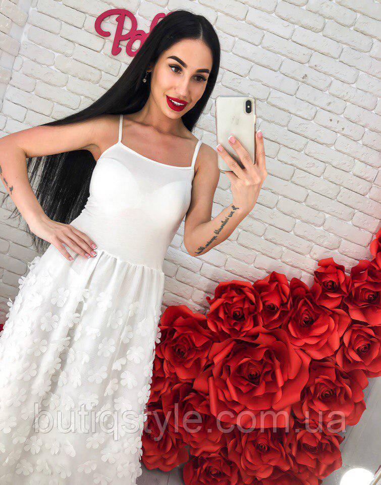 fd4a550145c Красивый женский легкий сарафан трикотаж + фатин с аппликацией белый ...