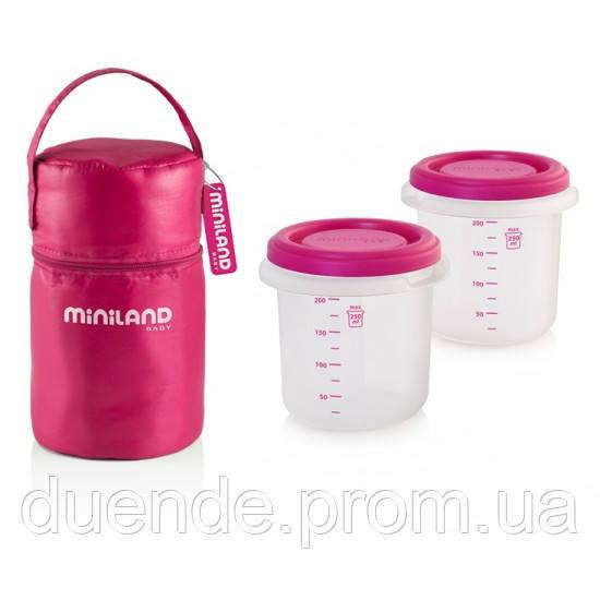 Термосумка Pack-2-Go Hermisized с 2 контейнерами розовая Miniland Baby / Min 89141