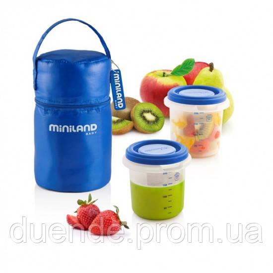 Термосумка Pack-2-Go Hermisized с 2 контейнерами синяя Miniland Baby / Min 89071