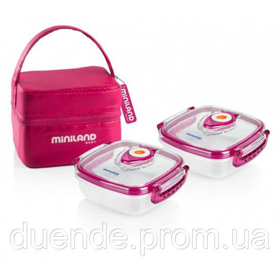 Термосумка Miniland Baby с 2 контейнерами HERMIFRESH розовая / Min 89139