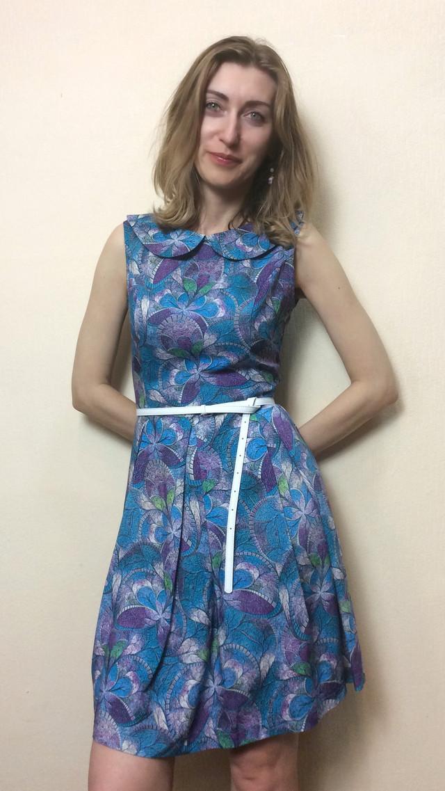 Платье штапельное с воротничком П140