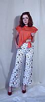 Штани жіночі брюки літні білі з принтом  Штаны женские из супер софта с принтом летние